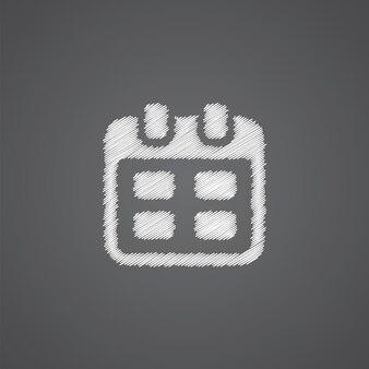 暗い背景に分離されたカレンダースケッチロゴ落書きアイコン