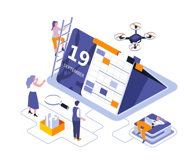 Calendar table isometric   illustration