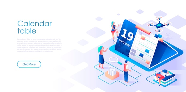 Calendar table isometric landing page template