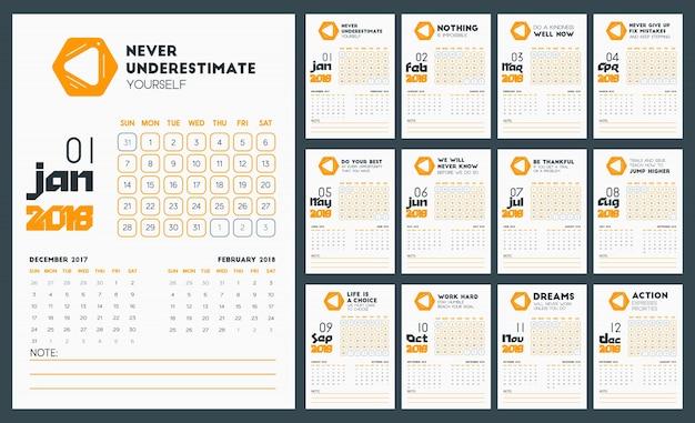 Wall Calendar Template 2018 Vectors Photos And Psd Files Free