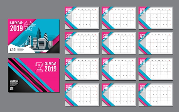 Calendar template for 2019 year