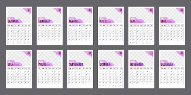 Calendar template for 2021 year. business planner. corporate and business calendar. week starts on monday. set of 12 months. planner diary in a minimalist style.