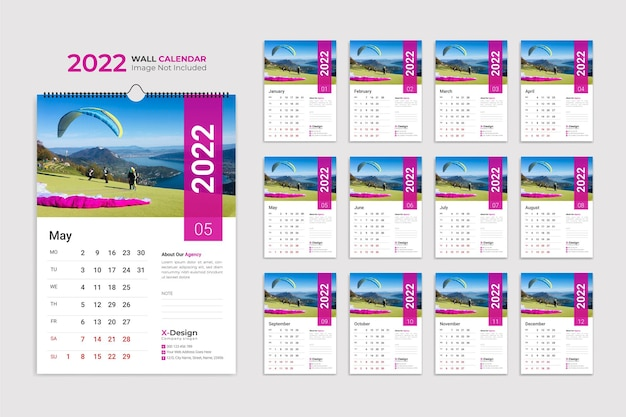 Calendar template for 2022 year corporate and business date planner calendar