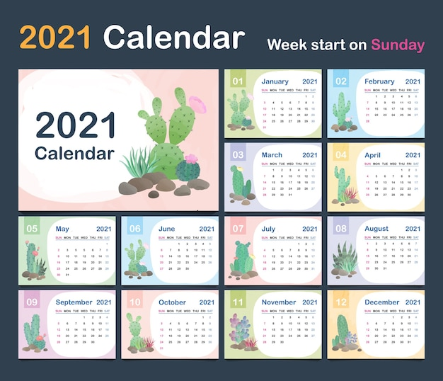 Calendar template. calendar concept design with natural patterns of cactus.
