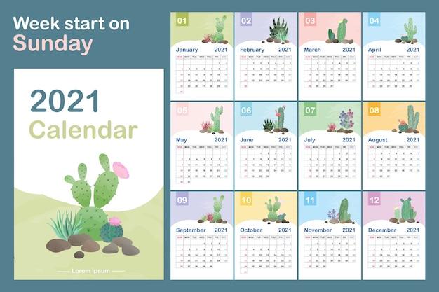 カレンダーテンプレート。サボテンの自然なパターンを持つカレンダーの概念。