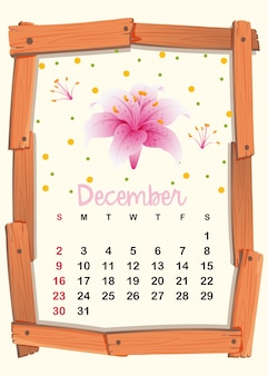Calendar template for december with pink lily