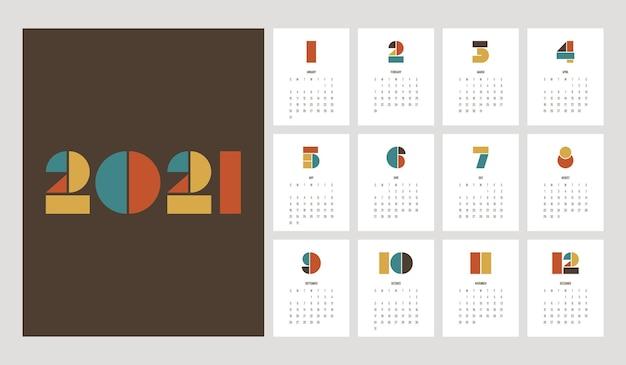 Шаблон календаря декоративный с геометрической типографской формой