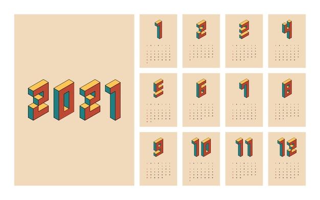 Календарь шаблон неделя начинается в воскресенье декоративный с изометрической типографикой винтажный ретро стиль