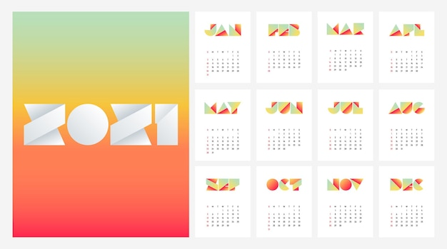Calendar  template week starts on sunday decorative with gradient typography