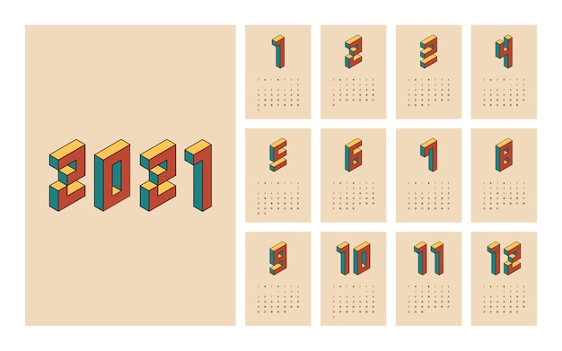 Calendar  template week starts on sunday decorative with isometric typography vintage retro style