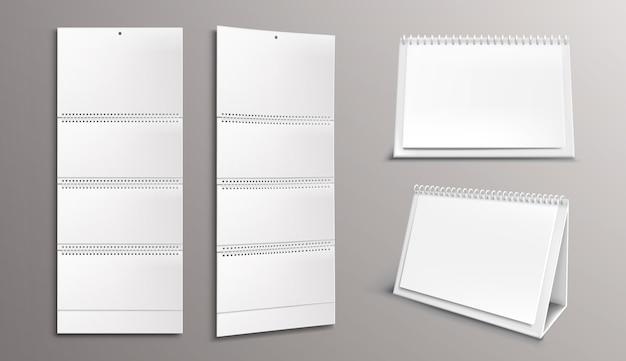 Шаблон календаря с пустыми страницами и подшивкой