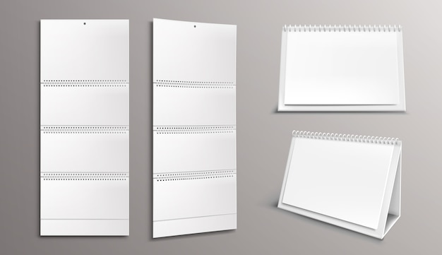 Calendar template with blank pages and binder