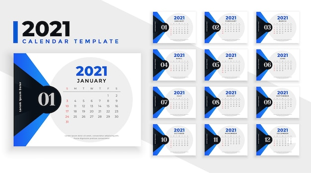 Calendar  template with blue geometric shapes
