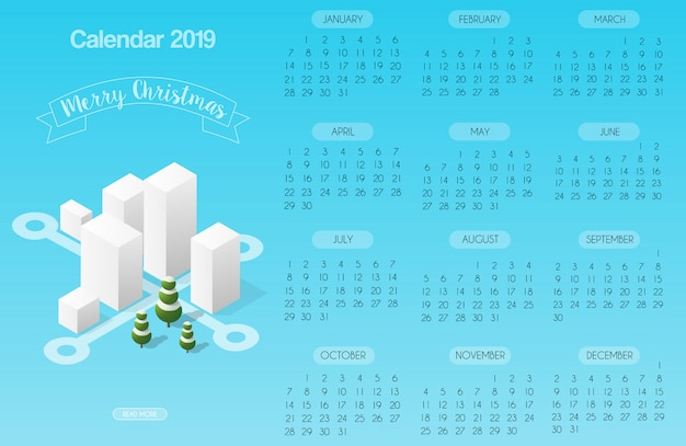 Calendar template with buildings