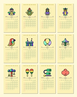 Calendar template with carnival theme