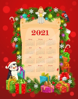 Calendar template with christmas and new year gifts on old paper scroll