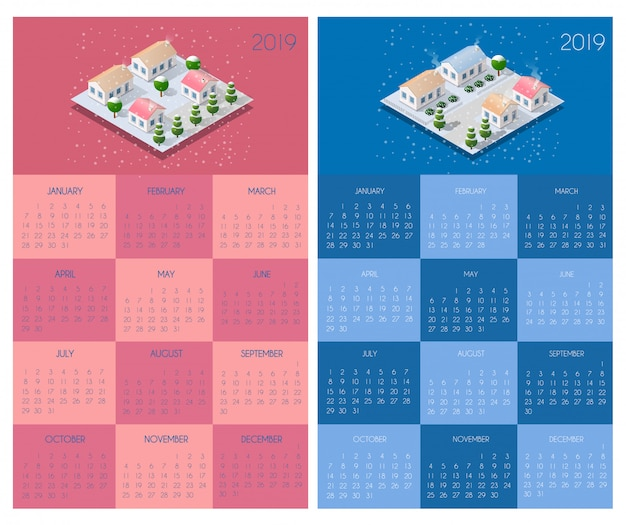 Calendar template with houses