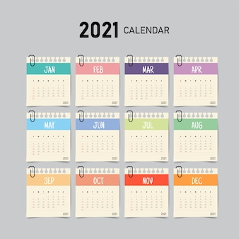 Calendar template with paper note style.