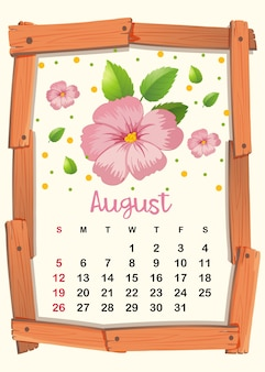 Calendar template with pink flowers for august