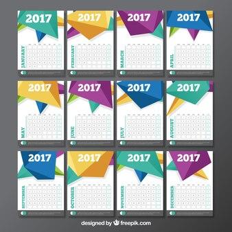 Calendar template with polygonal design