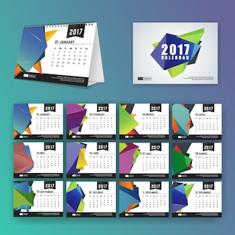 Calendar template with polygonal shapes