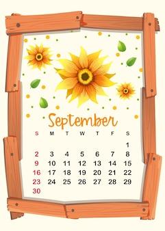 Calendar template with sunflower for september