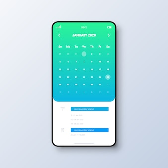 Calendar user interface concept for mobile app