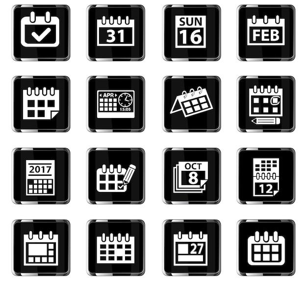 Calendar web icons for user interface design