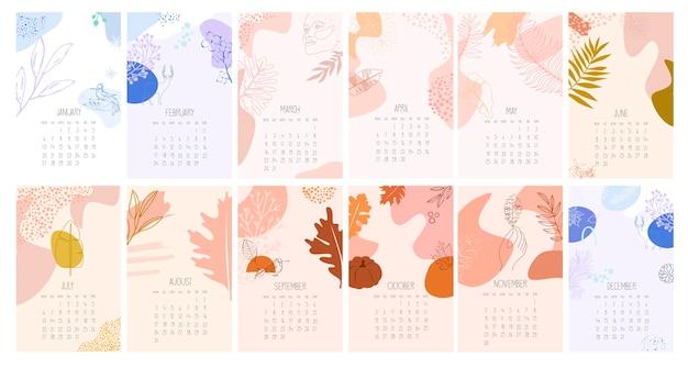 抽象的なミニマルな画像のカレンダー。すべての月の年間プランナー。主催者とスケジュール。