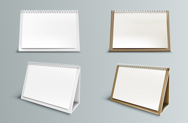Calendar  with blank pages and spiral. desktop horizontal paper calendar front and side view isolated