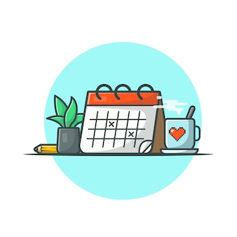 Calendar with coffee, plant and pencil vector icon illustration. save the date, schedule icon concept white isolated