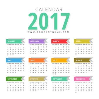 Moderno modello di progettazione 2017 di calendario