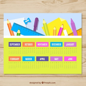 Calendario con composizione dei materiali scolastici