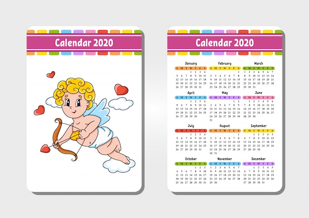 Calendar with a cute character.
