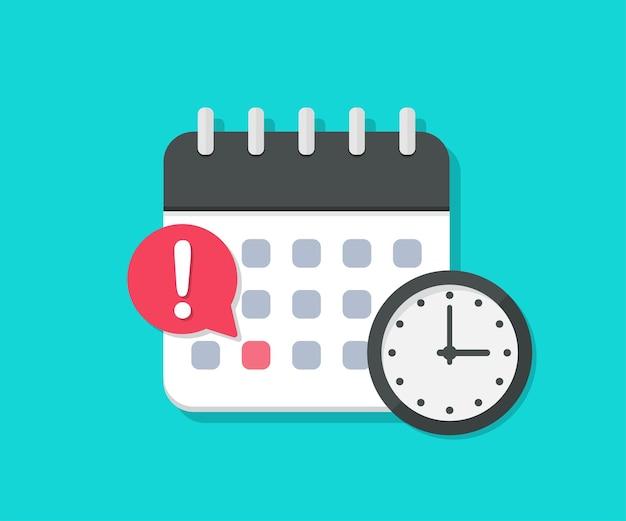 フラットなデザインの締め切り時計付きカレンダー。イベントの日付のリマインダー