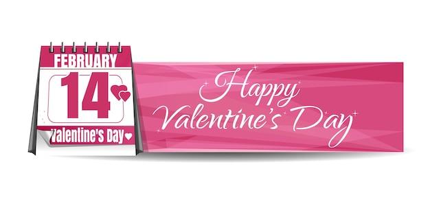 Календарь с праздничной датой на фоне приветствия. 14 февраля. розовый баннер. с днем святого валентина. иллюстрация
