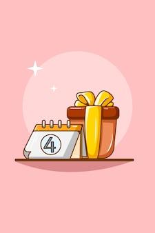Calendar with gift cartoon illustration