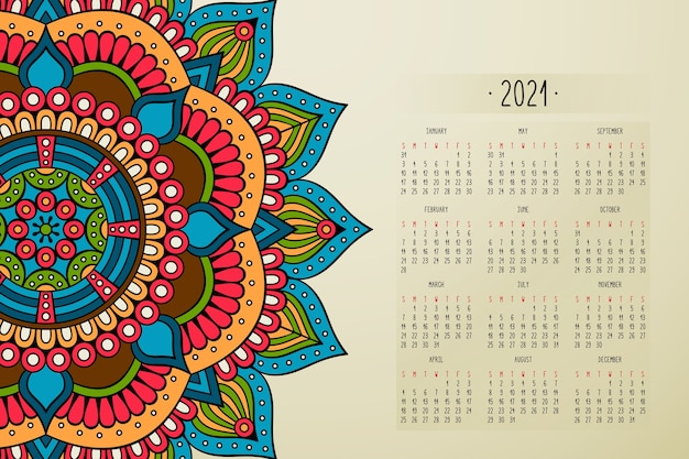 Calendar with mandalas dark style ornament