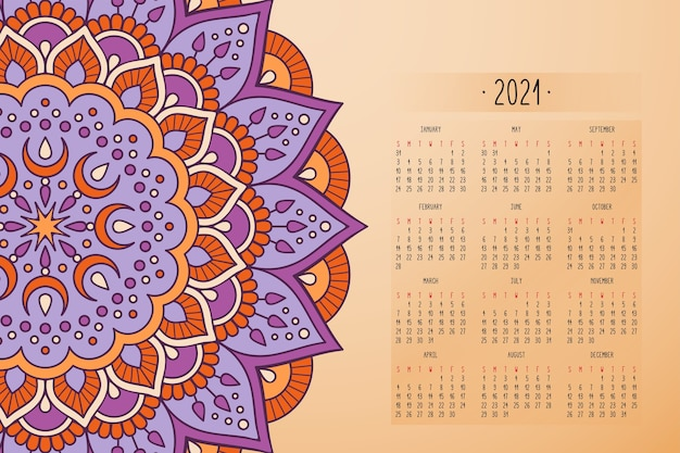 Calendario con mandala stile scuro ornamento