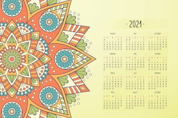 Календарь с орнаментом темного стиля мандалы