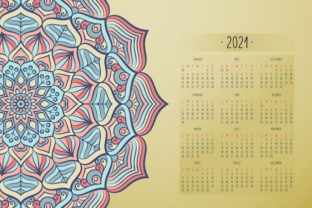 マンダラダークスタイルの飾りが付いたカレンダー