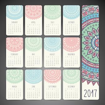 Calendar with mandalas, hand drawn
