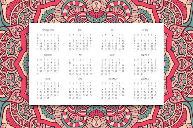 マンダラ飾り付きカレンダー