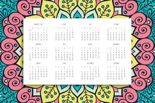 Calendar with mandalas ornament