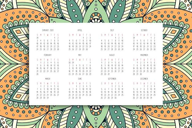 Календарь с орнаментом мандалы