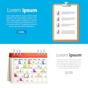 マークとクリップボードのチェックリスト付きのカレンダー。カレンダーの日付に関するメモ。計画のコンセプト。白と青の背景のイラスト