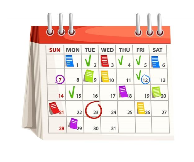 마크가있는 달력. 달력 날짜에 대한 참고 사항. 계획 개념. 흰색 배경에 그림