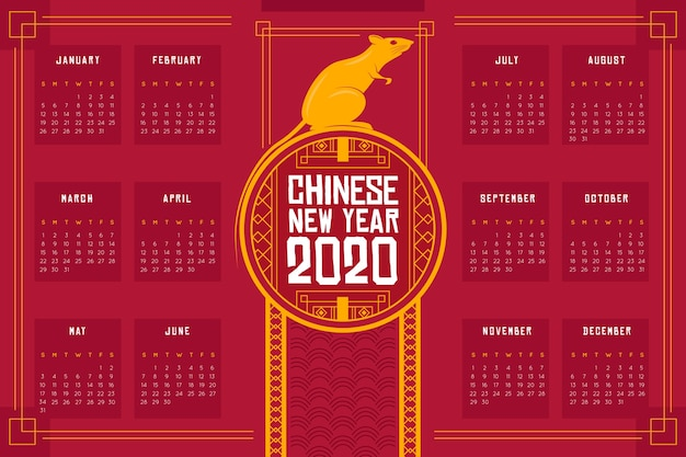 Calendar with mouse for chinese new year