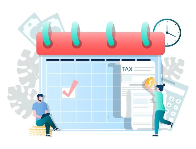 Календарь с отметкой о крайнем сроке налогообложения люди, заполняющие налоговую форму, производят платежи, векторная иллюстрация налог ...