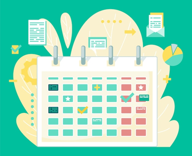 Calendar with tips, text blogs and stars on backdrop of plant with folders and informations